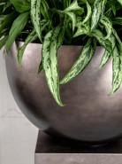 Metallic silver leaf bowl matt coffee 45x27 cm