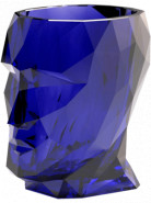 Kvetináč Adan nano lesklá priesvitná zafírová (modrá) hlava 17x13x18 cm