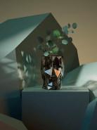 Kvetináč Adan nano lesklá priesvitná dymová (hnedá) hlava 17x13x18 cm