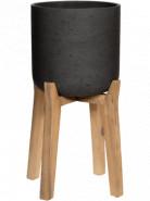 Kvetináč Rough na nožičkách Charlie L čierna (antracitová) 32x52 cm