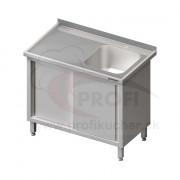 Umývací stôl krytovaný s drezom - posuvné dvere 1100x700x850mm