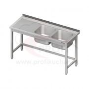 Umývací stôl s dvojdrezom - bez police 1500x700x850mm