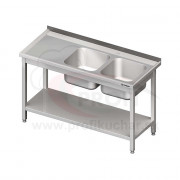 Umývací stôl s dvojdrezom - s policou 1400x700x850mm