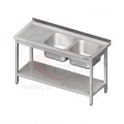 Umývací stôl s dvojdrezom - s policou 1500x700x850mm