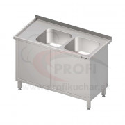 Umývací stôl krytovaný s dvojdrezom - krídlové dvere 1100x600x850mm
