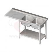 Umývací stôl s priestorom pre podstolovú umývačku, dvojdrez – ĽAVÝ 2100mm