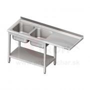 Umývací stôl s priestorom pre podstolovú umývačku, dvojdrez – PRAVÝ 1600mm