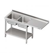 Umývací stôl s priestorom pre podstolovú umývačku, dvojdrez – PRAVÝ 2000mm