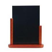Stolový stojan s tabuľkou, lakovaný, stredný, mahagón