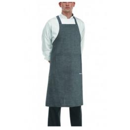 Kuchařská zástěra ke krku s kapsou - zavazování do kříže - Šedá