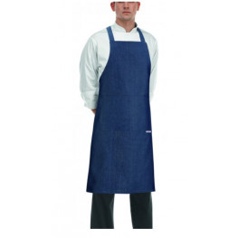 Kuchárska zástera ku krku s vreckom - zaväzovanie do kríža - Jeans
