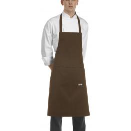 Hnědá kuchařská zástěra ke krku s kapsou