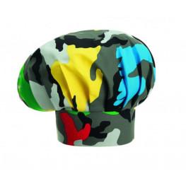 Vysoká kuchařská čepice - barevný maskáč