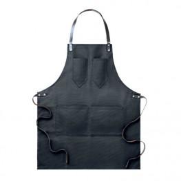 Kuchárska zástera ku krku čierna - kožené popruhy
