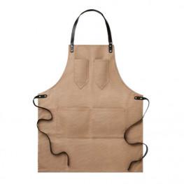 Kuchařská zástěra ke krku hnědá - kožené popruhy