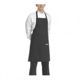 Černá kuchařská zástěra ke krku s kapsou - Mikrovlákno