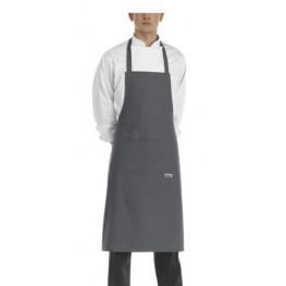 Mikrovlákno - kuchárska zástera ku krku s vreckom SIVÁ