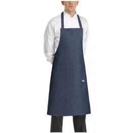 Kuchárska zástera ku krku s vreckom - JEANS