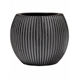 Capi Nature Vase Ball Groove II Black 12x10 cm