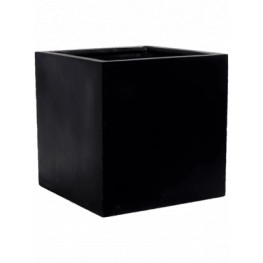 Kvetináč Fiberstone Block S Black 30x30x30 cm