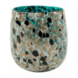 Leia Vase shiny Aqua 16x17 cm