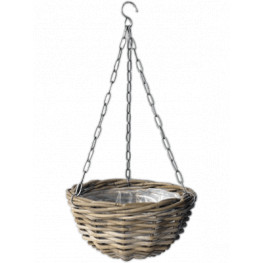 Rattan hanging basket Antique grey 30x17 cm