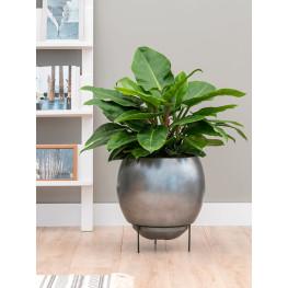 Metallic Silver leaf Globe Elevated Matt Silver (s vnutrom) 34x31 cm