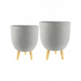 Indoor Pottery pot Ruth Light Grey (set 2ks) 32x41 cm a 37x27 cm