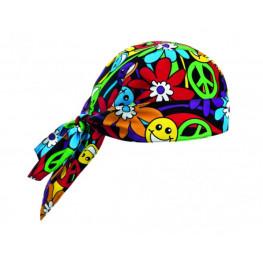 Kuchařská šátek na hlavu - vzor Peace and Love