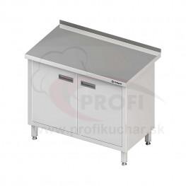 Pracovný stôl krytovaný STALGAST® 1300x600mm, krídlové dvere