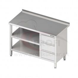 Pracovný stôl so zásuvkami - s dvomi policami 1400x700x850mm