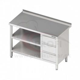 Pracovný stôl so zásuvkami - s dvomi policami 1900x700x850mm