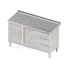 Pracovný stôl so zásuvkami - 2x otváracie dvere 1200x600x850mm