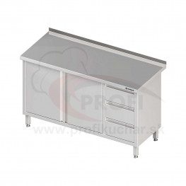 Pracovný stôl so zásuvkami - 2x otváracie dvere 1500x700x850mm