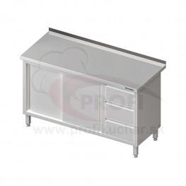 Pracovný stôl so zásuvkami -posuvné dvere 1400x600x850mm