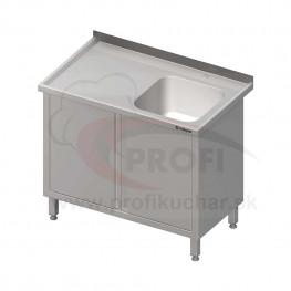 Umývací stôl krytovaný s drezom - krídlové dvere 1500x600x850mm
