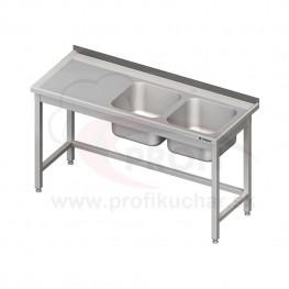 Umývací stôl s dvojdrezom - bez police 1600x600x850mm