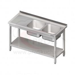 Umývací stôl s dvojdrezom - s policou 1400x600x850mm