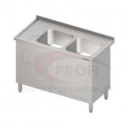 Umývací stôl krytovaný s dvojdrezom - krídlové dvere 1500x600x850mm