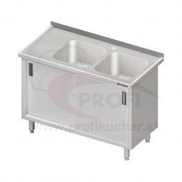 Umývací stôl krytovaný s dvojdrezom - posuvné dvere 1500x600x850mm