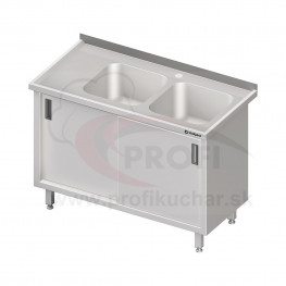Umývací stôl krytovaný s dvojdrezom - posuvné dvere 1100x700x850mm