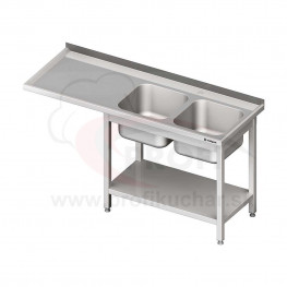 Umývací stôl s priestorom pre podstolovú umývačku, dvojdrez – LAVÝ 1600mm