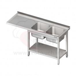 Umývací stôl s priestorom pre podstolovú umývačku, dvojdrez – ĽAVÝ 2300mm