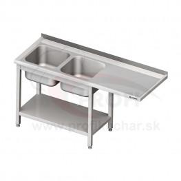 Umývací stôl s priestorom pre podstolovú umývačku, dvojdrez – PRAVÝ 2100mm