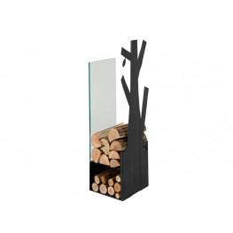 Zásobník na drevo sklo černý 270mm