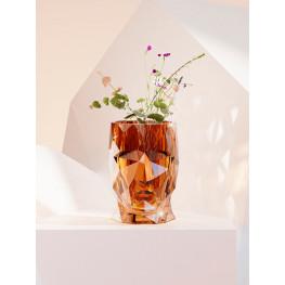 Kvetináč Adan nano lesklá priesvitná jantárová (oranžová) hlava 17x13x18 cm