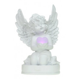 Anjel klačúci so LED srdcom