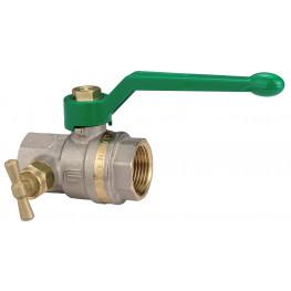 """ASTER 2374V406NF Guľový ventil GREEN na pitnú vodu s odvodnením F/F 1"""", DN 25, Al páka"""