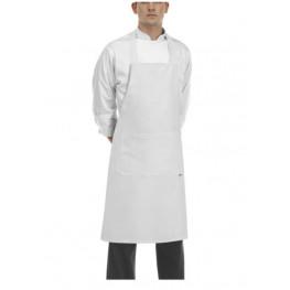 Kuchárska zástera ku krku s vreckom - zaväzovanie do kríža - Biela