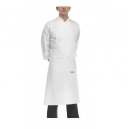 Biela kuchárska zástera ku krku s vreckom